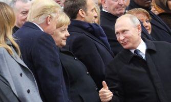 Путин и Трамп встретились глазами в Париже