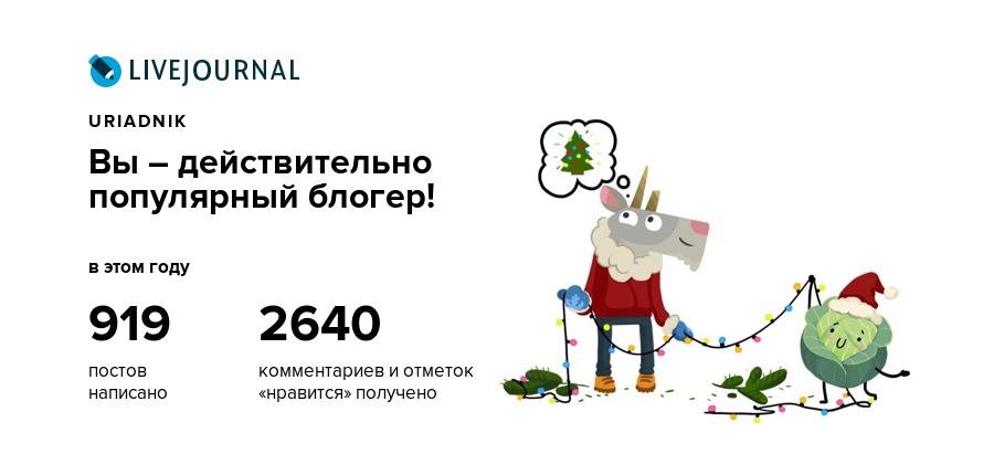 uriadnik, вы – действительно популярный блогер!