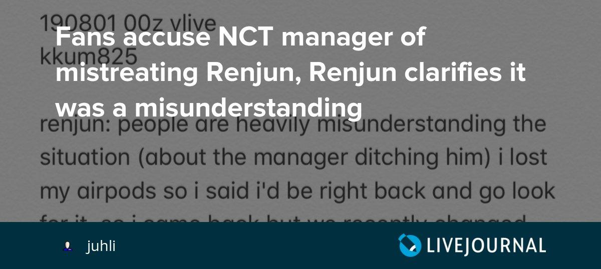 Fans accuse NCT manager of mistreating Renjun, Renjun