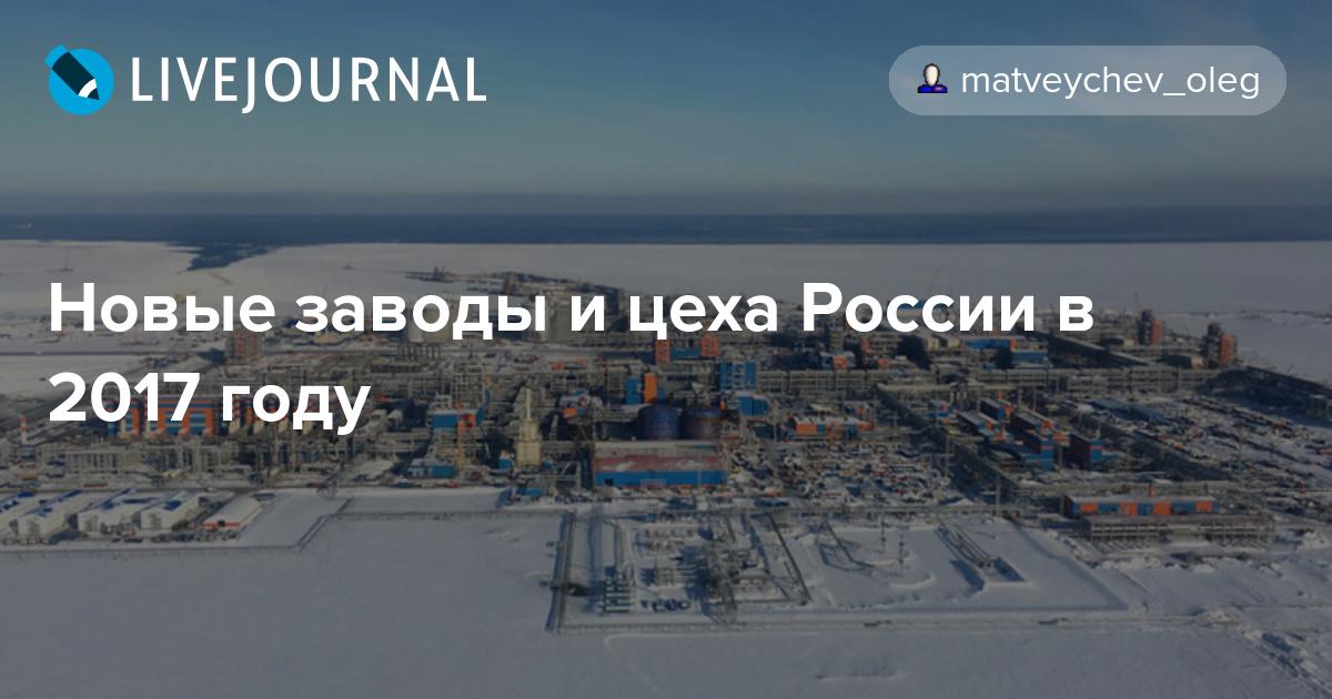 Новые заводы и цеха России в 2017 году