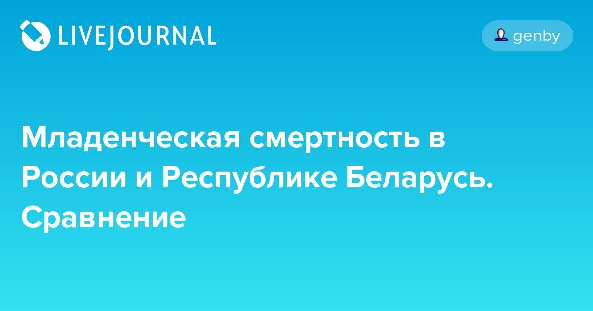 Младенческая смертность в России и Республике Беларусь. Сравнение