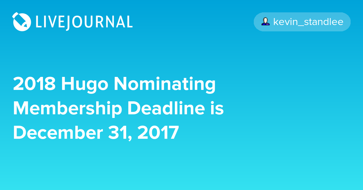 2018 Hugo Nominating Membership Deadline is December