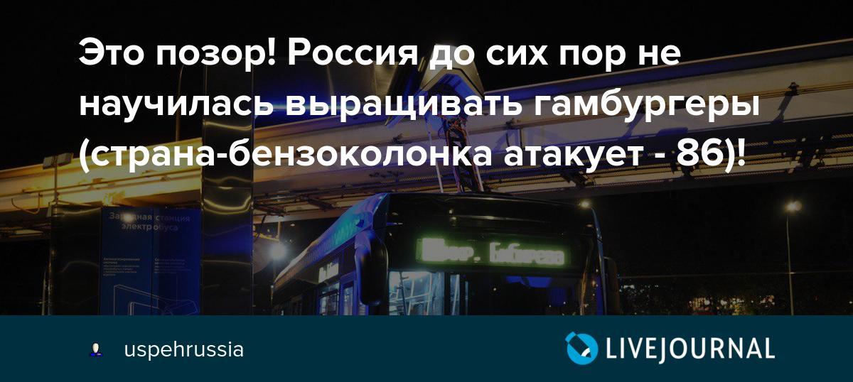 Это позор! Россия до сих пор не научилась выращивать гамбургеры (страна-бензоколонка атакует - 86)!