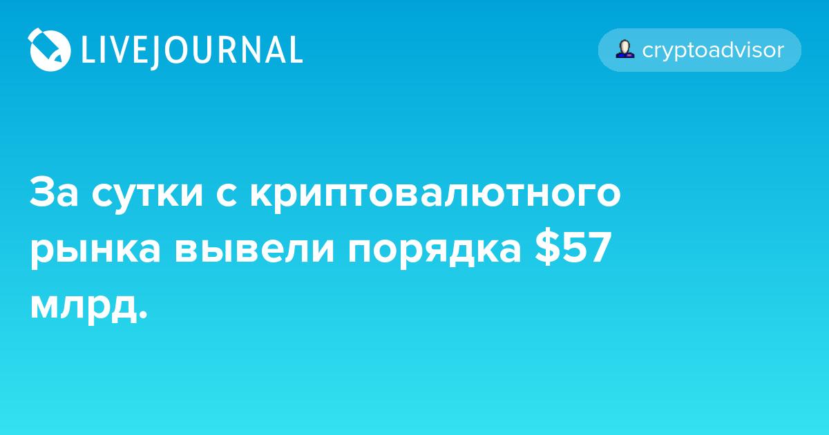 За сутки с криптовалютного рынка вывели порядка $57 млрд.