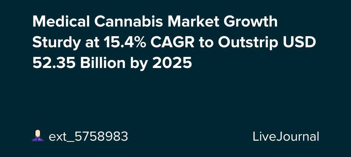 Medical Cannabis Market Growth Sturdy at 15.4% CAGR to Outstrip USD 52.35 Billion by 2025