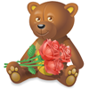 Someone sent you a teddy bear with flowers.