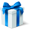 perhatikan sent you a pretty present with blue ribbon!